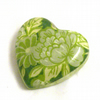 Bedtime Story green resin heart brooch