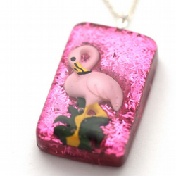 Pink Flamingo resin necklace