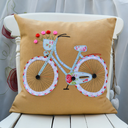 "Bicycle Pillow Cushion cover Cath Kidston Handmade Applique Birthday gift 16""x16"