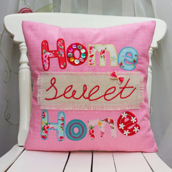 Home Sweet Home pillow Cushion Cover Pink Denim Cushion Fabric Handmade Appliqué