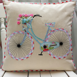Bicycle Pillow cover Applique piped Cushion cover Handmade Cath Kidston Fabric
