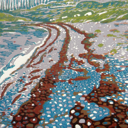 Beach Near Ullapool Scotland Original Limited Edition Reduction Linocut Print