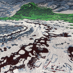 Claigan Coral Beach, Skye Original Limited Edition Reduction Linocut Print