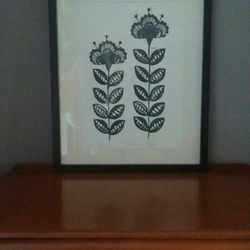 """Retro flower"" original, open edition 2 colour lino print. Linocut print."