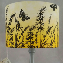 "Hand printed ""butterflies and grasses "" lampshade."