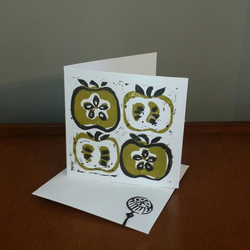 "Hand printed"" Retro apples"" blank card. Thankyou card. Notelets. Pack of 4"
