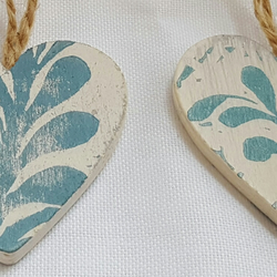 Heart decorations.Hand printed, lino cut print,4 pack, wooden hearts