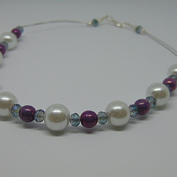 Oh So Pretty Pearl Purple and Crystal Necklce and Earring Set