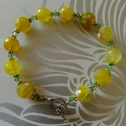 Yellow Veined Agate, Swarovski Crystal & Sterling Silver Bracelet