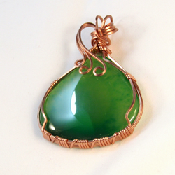 Judy - A Green Onyx Pendant, Wire Wrapped Pendant, Wire Wrapped Jewelry