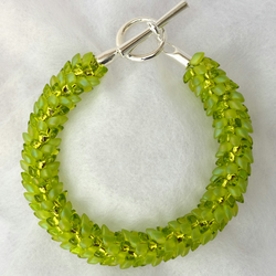 Lime Green Frost and Sparkle Dragon Scale Kumihimo Bracelet