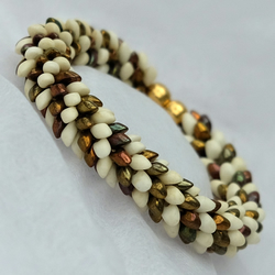 Gold and Cream Dragon Scale Kumihimo Bracelet with Magnetic Clasp