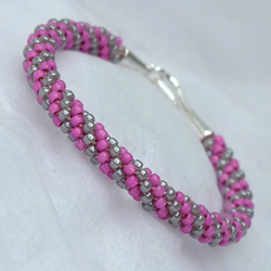 Hot Pink and Grey Spiral Beaded Kumihimo Bracelet