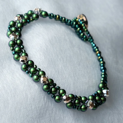 Scarabaeus Green Swarovski Crystal and Pearl Bracelet