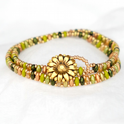 Double Wrap Bead and Daisy Button Bracelet