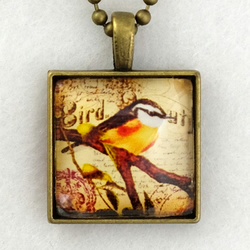 Glass Tile Art Pendant - Vintage Song Bird