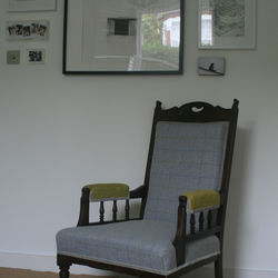 Edwardian nursing chair covered in 100% luxury grey wool