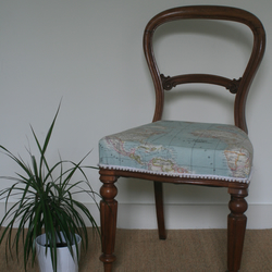 Victorian dining chair with world map