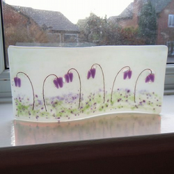 Freestanding Fused Flower Glass Art - 'Bluebell Wood'