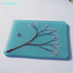 Turquoise Blue Cherry Tree Inspired Glass Art - 'Sakura'