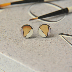 Lilac Geometric Wooden Lasercut Round Stud Earrings Abstract Pattern