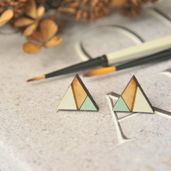 Geometric Hand Painted Sage Green Wooden Laser cut Stud Earrings