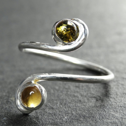Tristan ring. Citrine & amber, sterling silver, gemstone . Fully adjustable