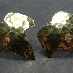 Ivy leaf dome stud - brass & sterling silver