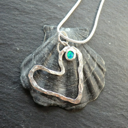 Karensa Pendant. Heart shaped sterling silver necklace. Opal