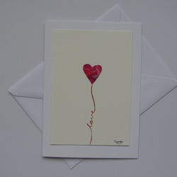 Red Heart Balloon Card