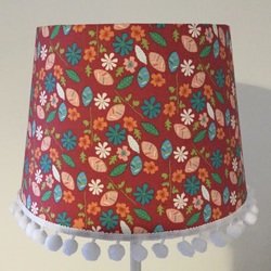 Terracotta table lampshade with white pom-poms