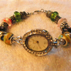 Ladies Diamante Wrist Watch with a Lampwork Bead Bracelet