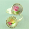 Ladies Ring, Adjustable with 2 Yellow and Pink Flower Cabochons