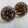 Pink and Gold Faux Druzy Stud Earrings, Ladies Stud Earrings