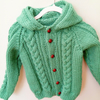 Baby's Cabled Hooded Jacket, New Baby Gift, Gift for Baby Shower
