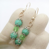 Green Dyed Turquoise and Green Crystal Earrings For Pierced Ears