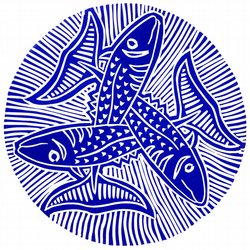 Three Little Fishes (linocut)