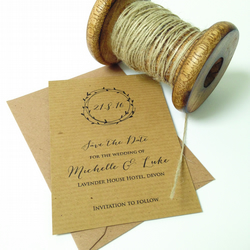 Laurel wreath rustic save the date cards