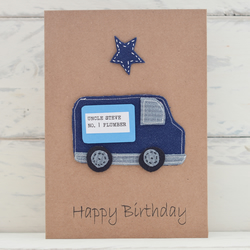 Happy Birthday Card - Cute Blue Van - Personalised