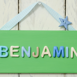 Bedroom Door Plaque - Green and neutrals