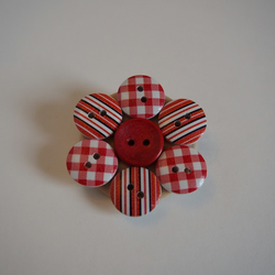 Red, White and Black Button Stripey Brooch