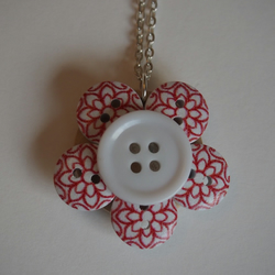Red and White Button pendant