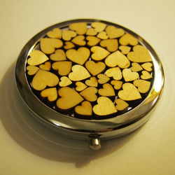 Wooden Heart Compact Mirror