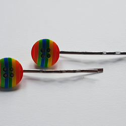 Rainbow button hairclips