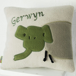 Personalised Applique Elephant Cushion.
