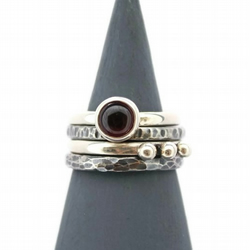 Garnet Stacking Silver Ring Set - Oxidised Hammered Sterling Silver Red Black