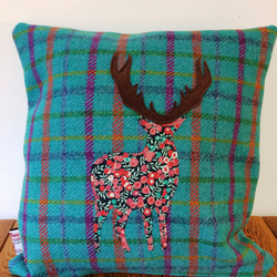 Harris Tweed & Liberty Fabric Stag Applique Cushion and Pad In Green Tartan