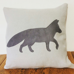 Grey Linen & Suede Fabric Fox Applique Cushion and Pad