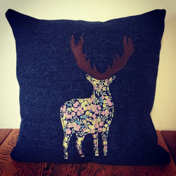 Harris Tweed & Liberty Fabric Stag Applique Cushion and Pad In Blue Herringbone
