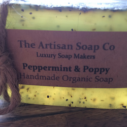 Handmade PEPPERMINT & POPPY Artisan Soap, Natural, Organic Essential Oils, Vegan